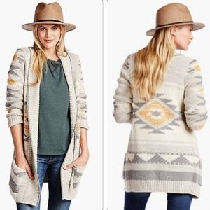 Lucky Brand Intarsia Southwest Sweater Coat